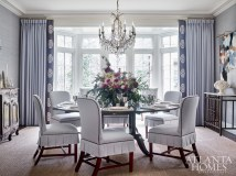 The centerpiece is by Holly Bryan Floral Design. Schumacher appliqués on charcoal linen border the gray-blue linen draperies. The pleating on the Hickory Chair dining room chairs add feminine, yet not frilly flair. Art by William McLure adds an edge above an iron console from Scott Antique Markets. The chandelier was purchased in Florence, Italy; the table is from Leighton Hall Furniture.