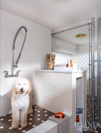 """Turner created a pooch """"spa"""" with heated floors and subway tile from Daltile."""