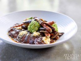 Hangar steak, served with carrots, romanesco, shiitakes and smoked gouda butter