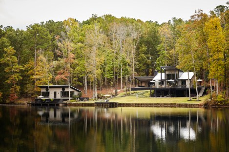 Ric Parrish and Matthew Quinn's weekend getaway in Greene County, Georgia, is a stylish compound that includes a private lake.
