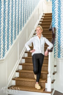 Kleinhelter, who is also the owner of Buckhead interiors boutique Pieces, in the bright entry foyer.