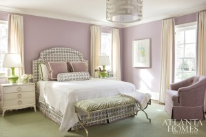 In a teenage girl's bedroom suite, a scheme of lavender, cream and green will stand the test of time. A headboard upholstered in custom Galbraith & Paul colorway (through R. Hughes), bedding from Serena & Lily and table lamps from Bungalow 5 strike a playful chord.
