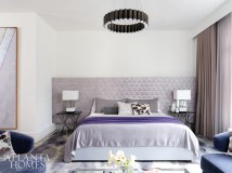 At Wieland's request to introduce color, Witzel used purple as a neutral in the master bedroom. The custom headboard is comprised of leather tiles from Studioart.