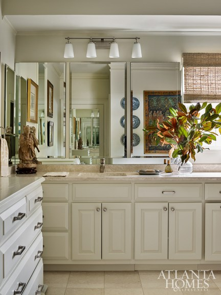 """Every space in the home boasts at least one Asian antiquity, even the bathroom. As Murphy likes to say, """"The feathers make the bird."""""""
