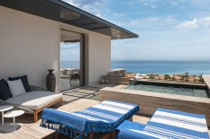 Suites have plush lounges and private plunge pools.