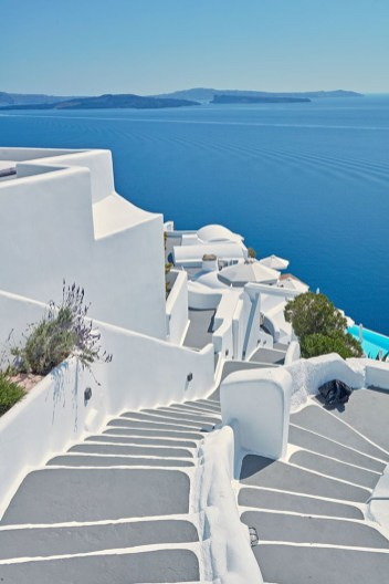Artful steps are part of the scenery on hilly Santorini.