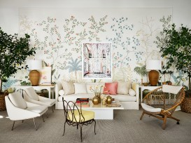 A large photograph by David Burdeny accentuates the de Gournay wallcovering, sourced through Ainsworth-Noah.