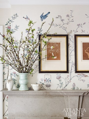 A digitally printed Schumacher paper with a graceful Chinoiserie motif enlivens a room by Beth Webb. Photo by Emily Followill.