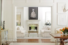 Murphy's dress painting is given pride of place in a living room by Anne Williams and Fred Mozzo.
