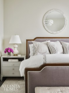Serenity was the goal in the master suite, where painted side tables from Century Furniture flank a mohair-covered bed.