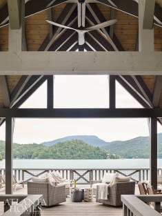 The boathouse, which features a built-in kitchen, 10-seat dining table and chaise lounges, transitions smoothly from afternoon sunbathing to alfresco dining.