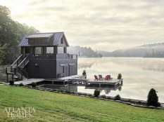 While they are named for the Adirondack Mountains, the red chairs and complementary gray outdoor chaise lounges fit right in on Lake Burton.