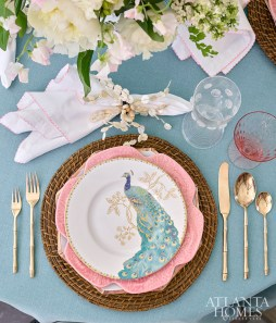 Mother of pearl and rattan mix with crystal and china in shades of coral and turquoise to create a breezy summer setting.