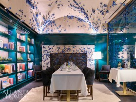 The Papillon Room features 3,000 decorative blue butterflies that adorn the walls and ceiling.