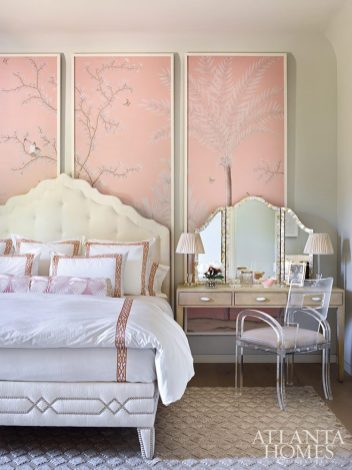 bedroom with pink panels