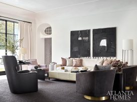 living room with large art