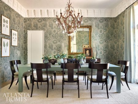 green wallpaper dining room