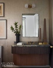 half bath with cork wall covering