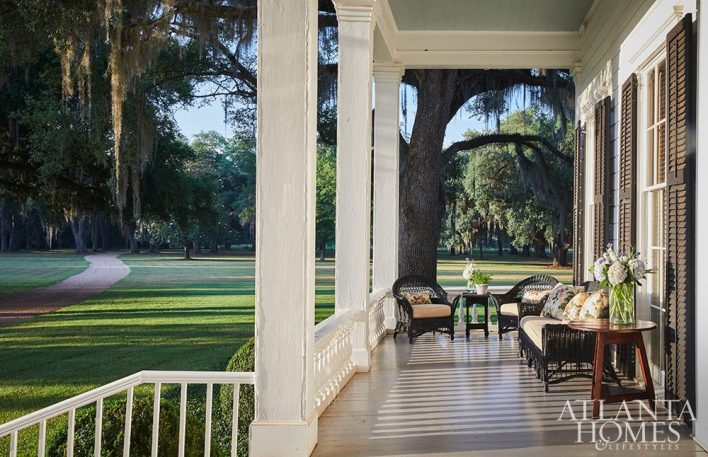 wicker furniture on a southern porch