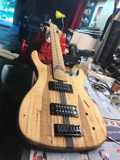 A custom 7-string guitar