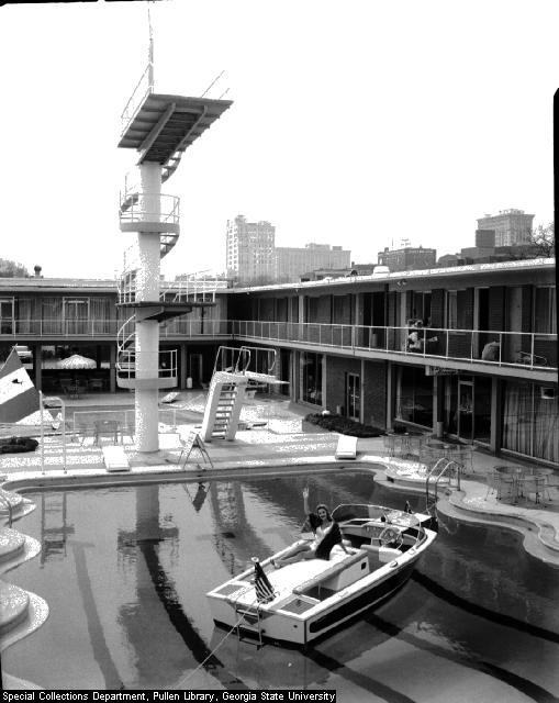 Boat in the pool at the Heart of Atlanta Motel, 1960 - Atlanta Time Machine image