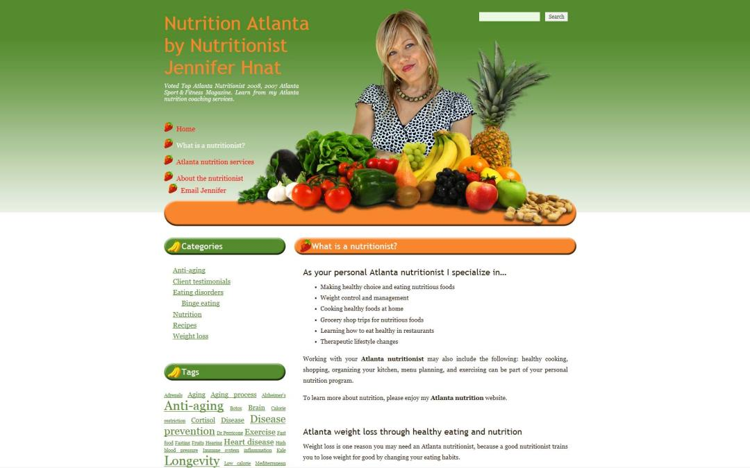 Nutritionist Jennifer Hnat Website Design