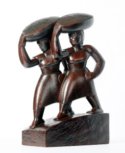 "Edna Manley (Jamaican, 1900 – 1987), ""Market Women,"" 1936, Mahogany 20 x 6¾ x 12 inches, Gift of Elsie Myers, 1973.1"