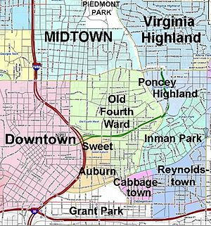 Old Fourth Ward Atlanta GA Map