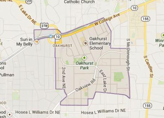 Map Location Of Oakhurst GA Atanta Neighborhood