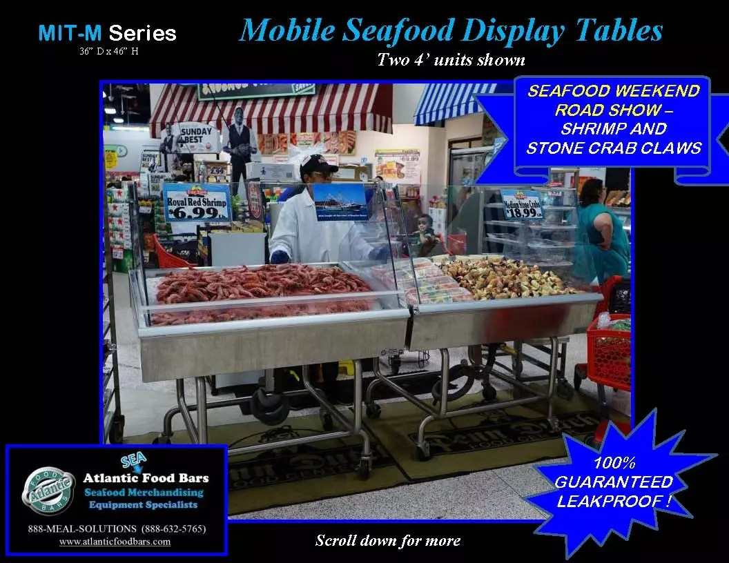 Atlantic Food Bars - Modular Mobile Ice Tables for Seafood Merchandising - MIT4836-M-FSK