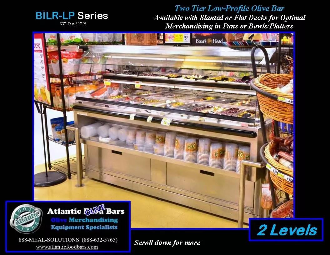 Atlantic Food Bars - 2-level end cap low-profile Olive Bar - BILR7834-LP