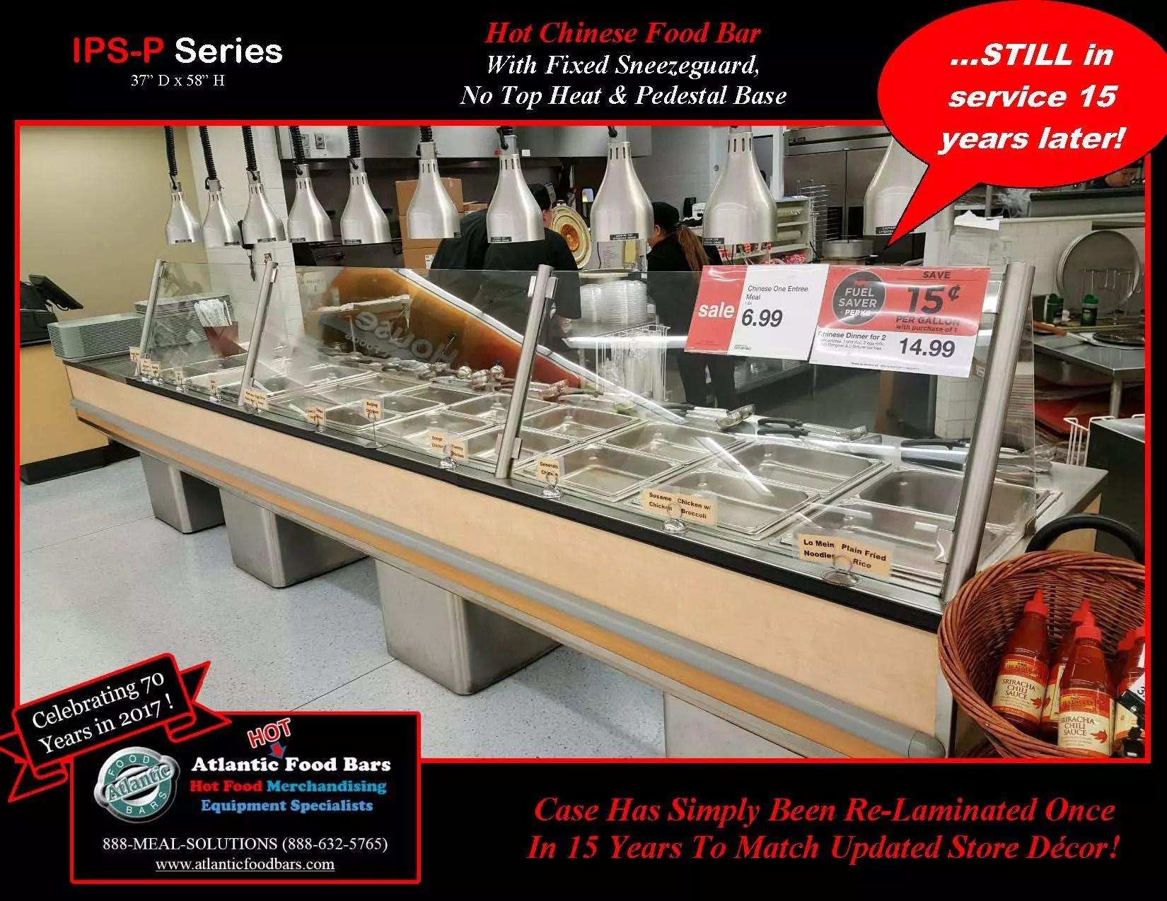 Atlantic Food Bars - Hot Chinese Food Bar with No Top Heat & Pedestal Base - IPS-P