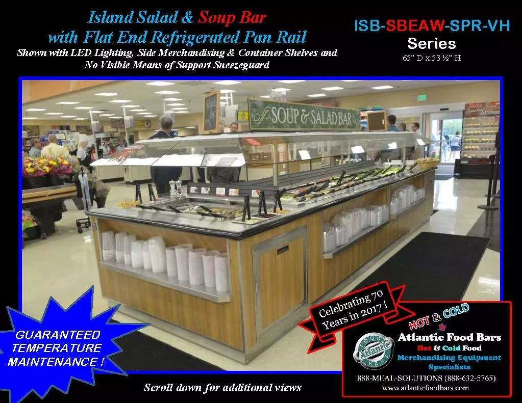 Atlantic Food Bars - Island Salad and Soup Bar with Flat End Refrigerated Pan Rail