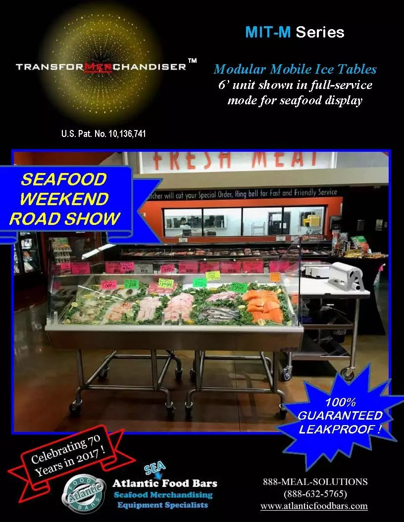 Atlantic Food Bars - Mobile Seafood Display Table for Weekend Roadshow Promotions - The transforMerchandiser MIT-M