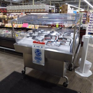 Mobile Iced Seafood Display Case with Canopy - transforMerchandiser - Atlantic Food Bars - MIT4836-SSKT-CKT-WSKT 1