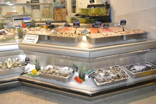 Custom Angled Ice-Only Non-Refrigerated Seafood Case with Front Grab and Go Bunkers - Atlantic Food Bars - FSM-KK 3