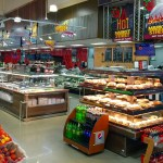 Island Express Plus Three Level Hot Grab and Go Merchandiser - Wide Model - Atlantic Food Bars - IMN7245-AS 1