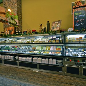 Salad Bar and Soup Bar with Overhead Refrigerated Grab and Go Canopy - Atlantic Food Bars - SLSB19236 SOG4836-RC 1