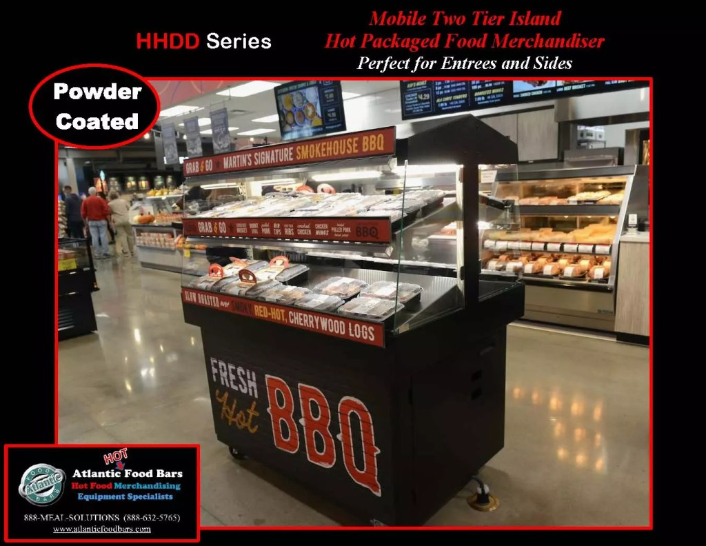 Atlantic Food Bars - Stainless Steel or Powder Coated Hot Food Merchandiser - Mobile 2-Tier Fresh, Hot BBQ Display Case for Grab & Go Sales - HHDD5136_Page_1