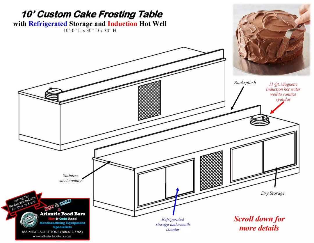 Atlantic Food Bars - 10' Custom Cake Frosting Table with Refrigerated Storage and Induction Hot Water Well to Sanitize Spatulas_Page_2
