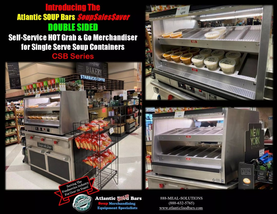 Atlantic Food Bars - 2 level Grab and Go Soup Countertop Merchandiser for Self Service Single Serve Soup Containers - Double Sided and Mini Formats - CSB Series_Page_1