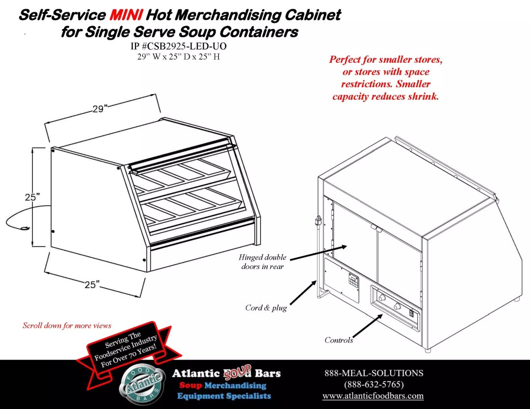 Atlantic Food Bars - 2 level Grab and Go Soup Countertop Merchandiser for Self Service Single Serve Soup Containers - Double Sided and Mini Formats - CSB Series_Page_3