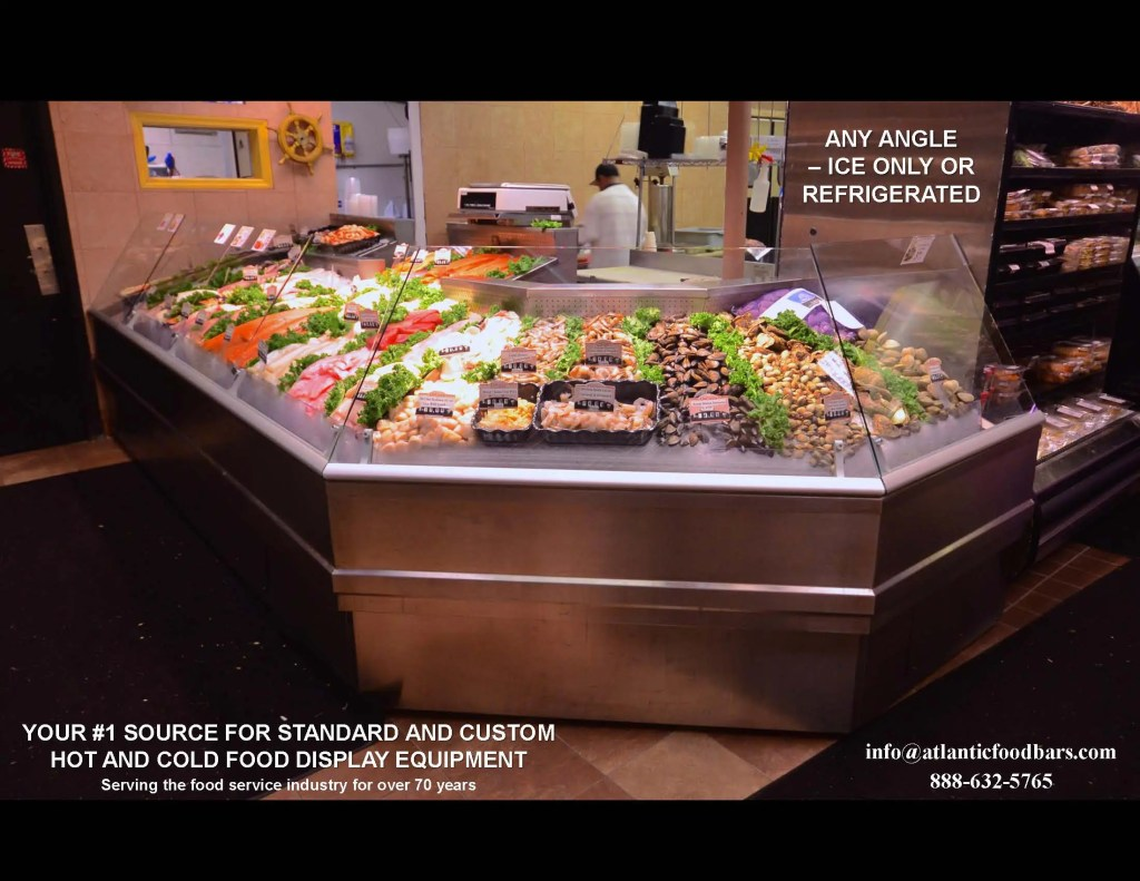 Atlantic SEAFood Bars - Seafood Merchandisers with Angles, Pedestals, LED Accent Lighting, Misting Systems and more 3