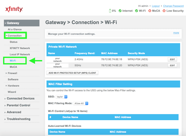 Comcast Change wifi name password