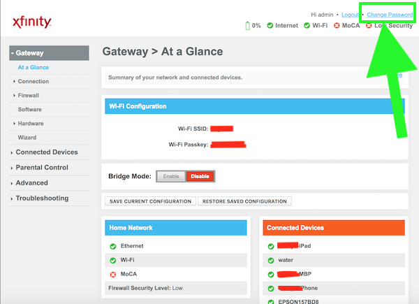 Comcast Xfinity Admin Screen