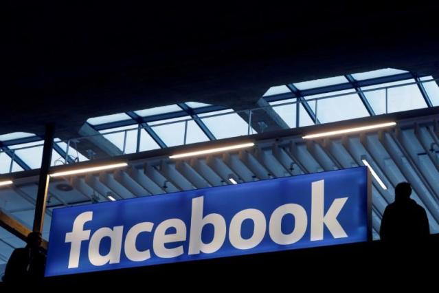 FILE PHOTO: Facebook logo is seen  at a start-up companies gathering at Paris' Station F in Paris