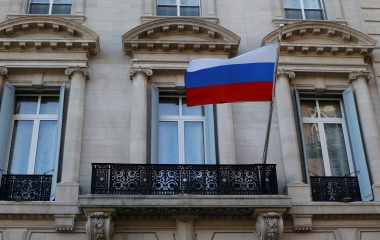 The Russian flag flies on the Consulate-General of the Russian Federation in Manhattan in New York City