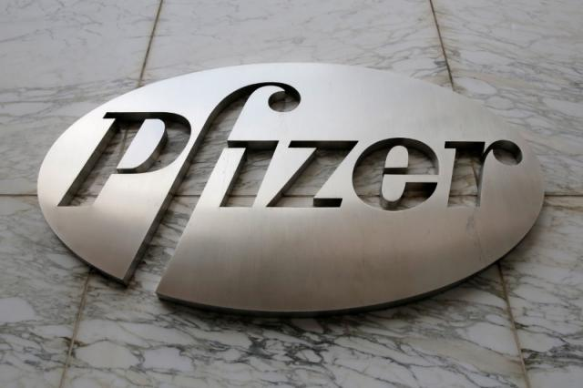 The Pfizer logo is seen at their world headquarters in Manhattan, New York, U.S.