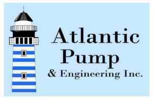 Atlantic Pump logo with blue background white border