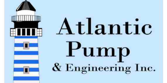 Atlantic Pump logo with blue background white border